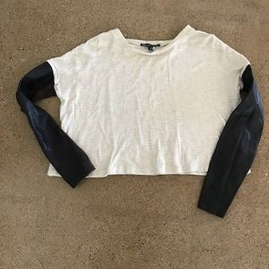 Elizabeth and James Leather Sleeve Cropped Sweater